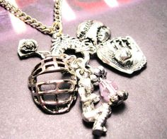 Softball catcher  charm holder Pendant  necklace. $19.00, via Etsy. a must find for my daughter