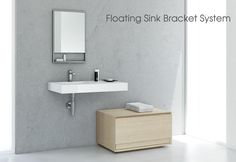 Furniture / Floating Sinks   WETSTYLE paired with storage cube shown in natural oak