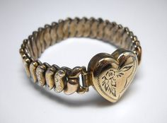Vintage 1930s Sterling Sweetheart Expansion Bracelet by Co-Star via Etsy