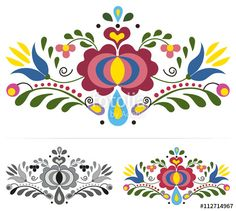 "Embroidery Folk Embroidery ""Colored slovak folk ornaments"" Stock image and royalty-free vector files on - Pic Embroidery ""Colored slovak folk ornaments"" Stock image and royalty-free vector files on - Pic 112714967 Hungarian Embroidery, Folk Embroidery, Learn Embroidery, Embroidery Stitches, Embroidery Patterns, Machine Embroidery, Chain Stitch, Cross Stitch, Polish Folk Art"