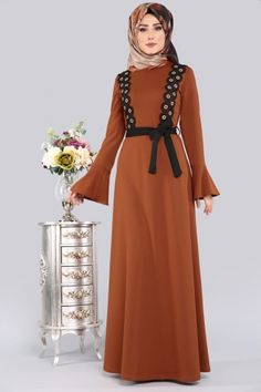 ** YENİ ÜRÜN ** Halka Detay Tesettür Elbise Taba Ürün kodu: PRM3035 --> 64.90 TL