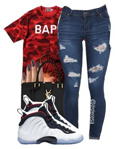 """"""""""" by itsteresa ❤ liked on Polyvore featuring A BATHING APE, Yves Saint Laurent and NIKE"""