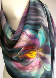 Silk Scarf Shawl XL Handpainted Floral Orchid Grey Pink Turquoise Yellow…