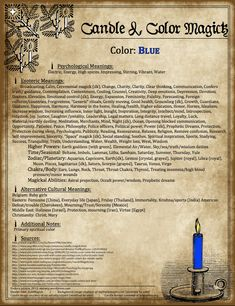 Candles:  #Candle & #Color #Magick ~ Blue.