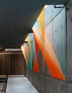 Inés Esnal,modern art,instalation,string,geometric