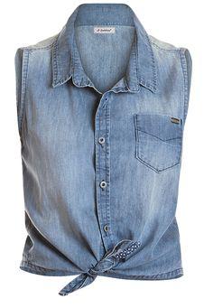 Blusa Jeans sem Mangas