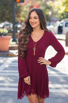 Ladies First Maroon Dress