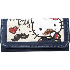HELLO KITTY Mustache Womens Wallet ($25) ❤ liked on Polyvore