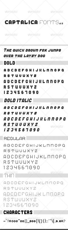 Captalica Font  #GraphicRiver         Captalica font contain letters ,numbers and some characters, in 4 differents styles : Thin, Regular, Bold, Bold italic  	 Perfect for titles, or any design  	 Only on GraphicRiver.     Created: 26May12 CompatibleOS: Mac #PC FontFilesIncluded: TrueTypeTTF OptimumSize: 60px Tags: brand #bubble #cap #captalica #cool #font #fonts #great #heading #logo #namecard #numbers #poster #ttf #unique