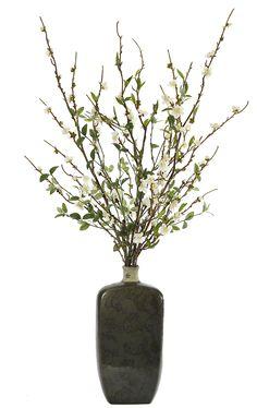 Peach Blossom Branch (WF392): Peach Blossom Branch, White, Ceramic Vase Green,30wx20dx46h