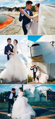 #Wanderlust inspiration from Taiwanese celebrities Nicky Wu and Cecilia Liu Shishi's #NewZealand #engagement shoot that included the incredible Waitomo Glowworm Caves and Champagne Pool - just mesmerising! {Facebook and Instagram: The Wedding Scoop}