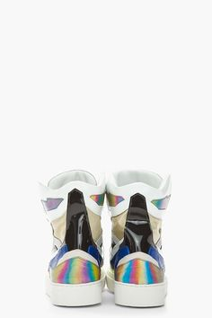 Raf Simons White & Blue Leather Holographic Space Sneakers for men | SSENSE
