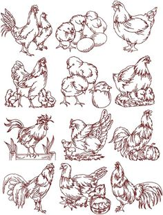 Advanced Embroidery Designs - Rooster and Hen Redwork Set.