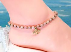 Yoga bead anklet, pink ankle bracelet, lotus flower jewelry, gold anklet, gift under 30 Gold Anklet, Beaded Anklets, Boot Jewelry, Boho Boots, Boot Bling, Thing 1, Ankle Chain, Southwest Jewelry