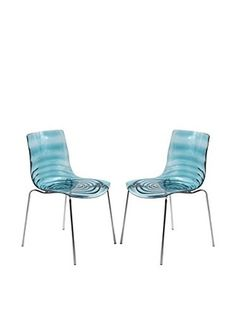 LeisureMod Set of 2 Astor Modern Dining Chairs, Transparent Blue