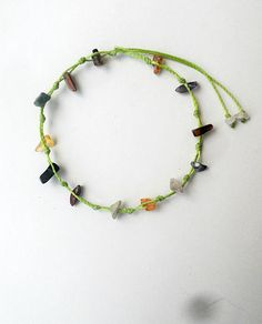 Lime Green String anklet Gemstone chips Greenery Multi gem stones Boho anklet Beach anklet Summer Surfer Wax cord Body jewelry Tie on finish  This handmade macrame anklet is made with lime green waxed string. On the sides it is adorned with various gemstone chips such as