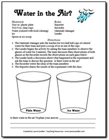 Free Water in the Air Experiment to introduce evaporation and condensation. Great group work and communication skills are also formed!  (from Laura Candler's online science file cabinet)