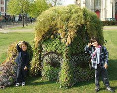 Foliage Head, mud sculpture, garden art