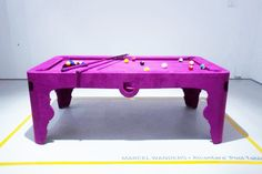 Designer Marcel Wanders has embraced pink with much gusto in his most recent design project. The Pink Pool table may keep the boys away, but us girls can't Table Rose, Pink Table, Marcel, Basement Bar Designs, Basement Ideas, Basement Bars, Play Pool, Billiard Room, Basement Renovations