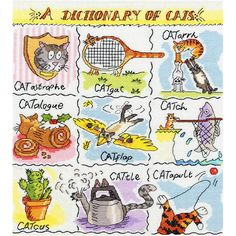 Kit broderie point de croix Bothy Threads Dictionary of Cats XD04