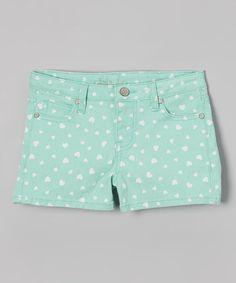 Loving this Mint Heart Denim Shorts on #zulily! #zulilyfinds