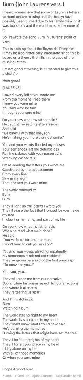 """Burn"" John Laurens Version.  OH MY GOD ITS SI BEAUTIFUL I LIVE IT SO MUCH"