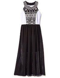 Vestido largo de la gasa de Amy Byer Big Girls 'con placas de ...
