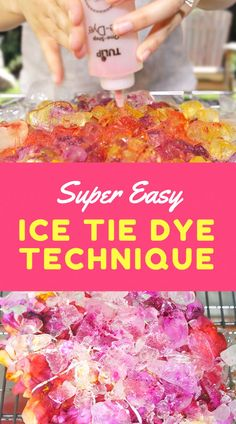 Keep cool this summer with this fun and easy Ice Dye technique using Tulip Tie Dye! Keep cool this summer with this fun and easy Ice Dye technique using Tulip Tie Dye! Tie Dye Folding Techniques, Fabric Dyeing Techniques, Tie Dying Techniques, How To Tie Dye, How To Dye Fabric, Kids Tie Dye, Ice Tye Dye, Shibori, Prom Hairstyles