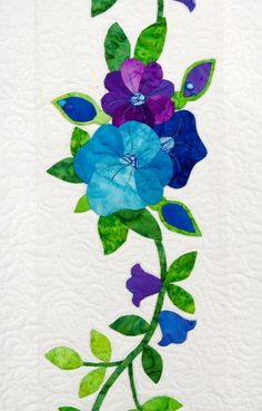 Quilt detail - Baltimore Album Style in Purple, Blue and Green at nhquiltarts