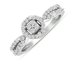 $134.99 - 1/3 Carat Diamond 10K White Gold Halo Style Promise Ring