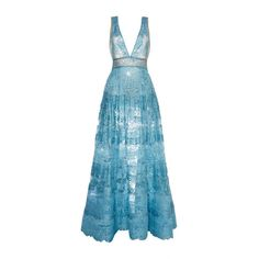 Elie Saab Blue Lace Deep V-Neck Gown and other apparel, accessories and trends. Browse and shop 2 related looks.