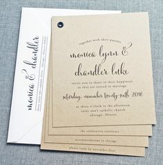Monica Kraft Booklet Wedding Invitation Sample - Rustic Kraft Card Stock with Beautiful Calligraphy Script Font