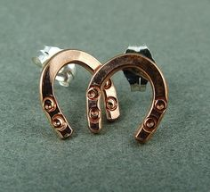 Lucky Horseshoe Earrings in Copper and by fallingleafjewelry, $18.00