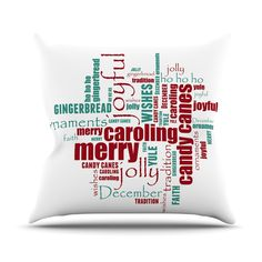 "Sylvia Cook ""Yuletide"" Christmas Typography Throw #Pillow  #christmas #typography #homedecor #holiday  #kessinhouse"