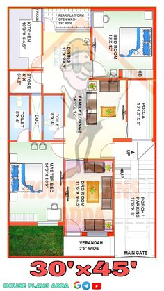 2bhk House Plan, 3d House Plans, Indian House Plans, House Front Design, Modern House Design, Home Design Plans, Plan Design, Beautiful House Plans, Beautiful Homes