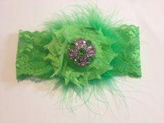 Neon Green and Pink Rhinestone Marabou Shabby Flower Baby Headband