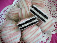 Pink Chocolate Covered Oreos Cookies Pink by Sweettoothsweetie