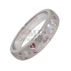 Handmade 18 Carat White Gold Scatter Set Ring Featuring Diamonds & Argyle Pink Diamonds.