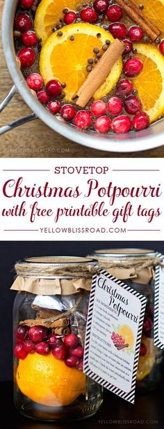Homemade Potpourri with Free Printable Tag. Send your neighbors potpourri like this which makes all the Christmas rooms smell good.