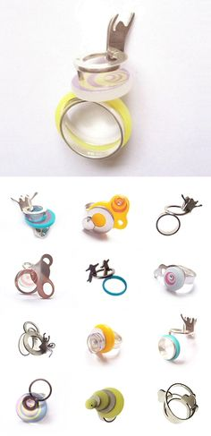 These rings make me sick to my stomach — and I bet Helen Wood would be happy to hear it. Inspired by rollercoasters (clearly), the UK jeweller packs all the queasy thrill and motion of those fairground rides into tiny pieces of acrylic and silver. So fun, you'll never need a barrel of monkeys again. Wheeeee~!