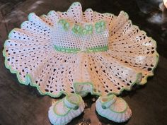 Handmade Baby Girl Crochet Dress and Booties Set by MagicalStrings, $50.00