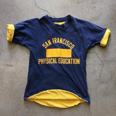 "1970s reversible San Francisco Phys Ed t-shirt, size XS/S measures 17"" pit to pit and 24"" collar to hem, $42+$8 domestic shipping. Call 415-796-2398 to purchase or PayPal afterlifeboutique@gmail.com and reference item in post."