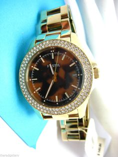 Ladies Fossil Watch with Gold Tone Band & Tortoise Dial with CZ Bling AM4526 NWT #Fossil #Dress