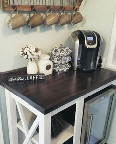Farmhouse Coffee Bar with Mini Fridge | coffee sign | farmhouse kitchen | rustic