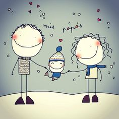 Miss Pink Art Drawings For Kids, Cute Drawings, Art For Kids, Winter Illustration, Graphic Illustration, Stick Figures, Cute Art, Doodles, Humor