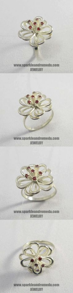 Sterling 925 silver ring with 6 round 2 mm red almandine color cubic zirconia gemstones. 925 Silver, Silver Rings, Jewelry Rings, Brooch, Gemstones, Red, Handmade, Color, Month Gemstones