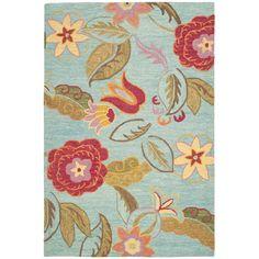 Handmade Blossom Blue Wool Rug | Overstock.com