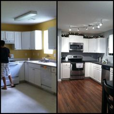 Before and After Kitchen Renovation with Refacing White Cabinet using Black Countertops