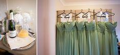 Mint sage green bridesmaid dresses at Careys Manor Wedding