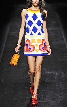 Moschino Embroidered Stretch Canvas Shift Dress - want want